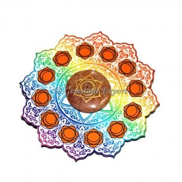 Wooden Coaster with Peach Aventurine Sacral Chakra Disc