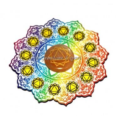 Solar Plexus Wooden Coaster with Peach Aventurine Stone