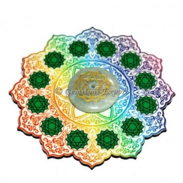 Heart Chakra Wooden Coaster with Green Aventurine Disc