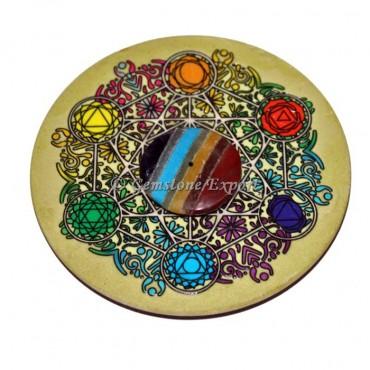 Chakra Pentagram Wooden Coaster with Bonded Chakra Disc