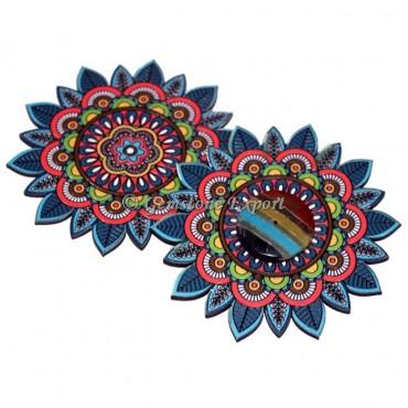 Colorful Mandala Wooden Coaster with Bonded Chakra Disc