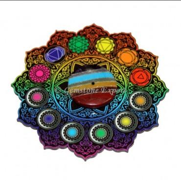 Colorful Printed Chakra Symbols Mandala Wooden Coaster with Bonded Chakra Disc