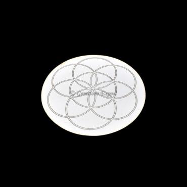 Flower Medallion Engraved White Coaster
