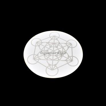 Metatron Engraved Wooden White Coaster