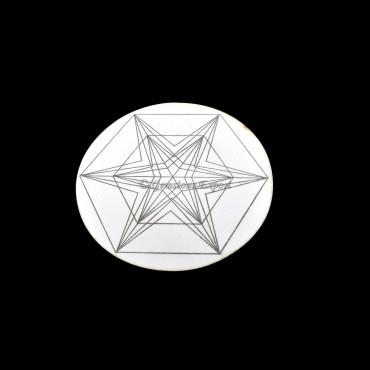 Star Engraved on Wooden White Coaster