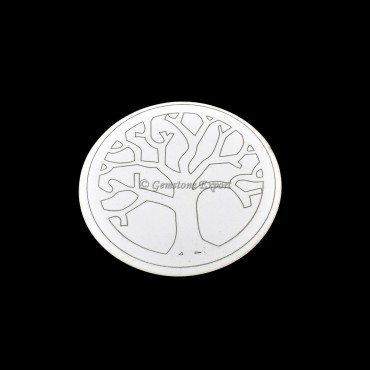 Tree Of Life Engraved Wooden White Coaster