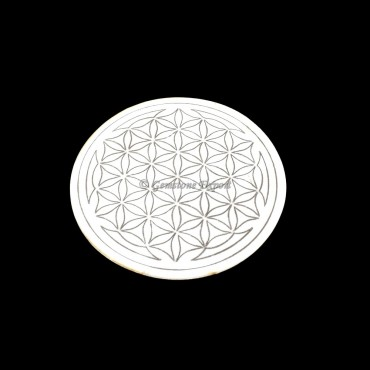Flower of Life Engraved Wooden White Coaster