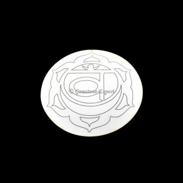 Sacral Chakra Wooden White Coaster
