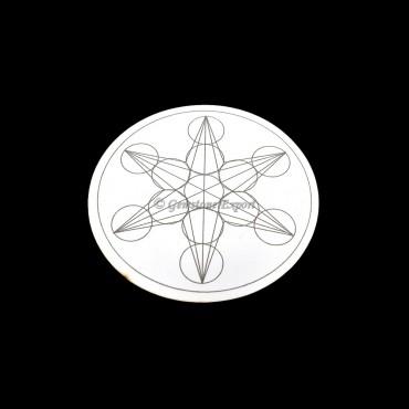 Geometric Star Engraved on Wooden White Coaster