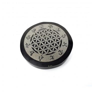 Flower Of Life Black Agate Coaster