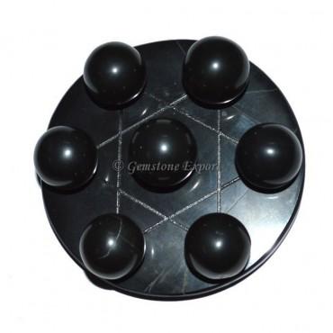 Black Agate David Star Base With Black Chakra Ball