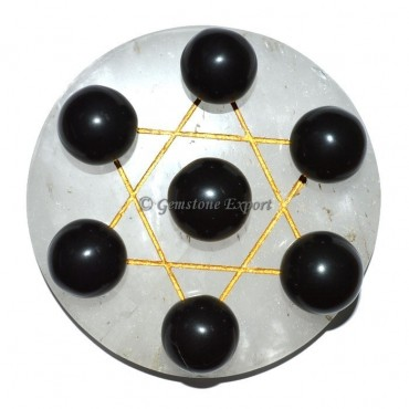 Crystal Quartz Golden David Star Base with Black C
