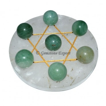 Crystal Quartz  Golden David Star Base with Green