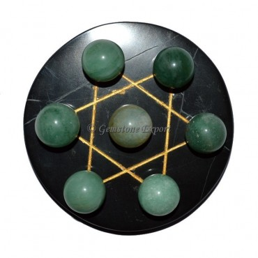 Black Agate Golden David Star Base with Green Aven