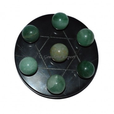 Black Agate David Star Base with Green aventurine