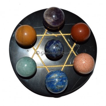 Black Agate Golden Star Base with 7 Stone Chakra B