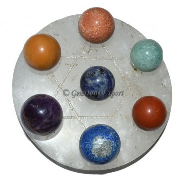 Crystal Quartz Star Base with 7 Stone Chakra Ball