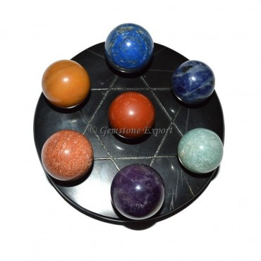 Black Agate star Base with 7 Stone Chakra Ball