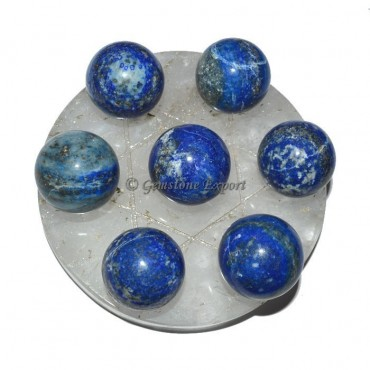 Crystal Quartz Star Base with Chakra Lapis Ball
