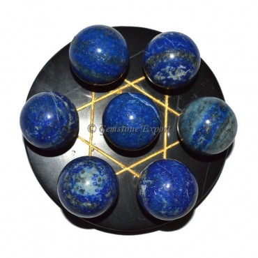 Black Agate Golden Star Base with Chakra Lapis Bal