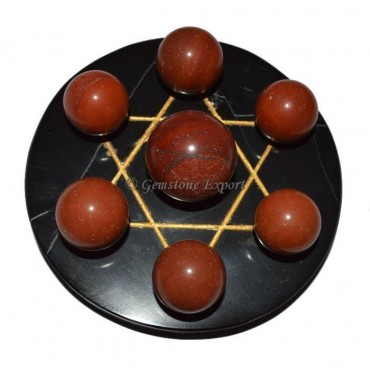 Black Agate Golden Star Base with Red Jasper Chakra