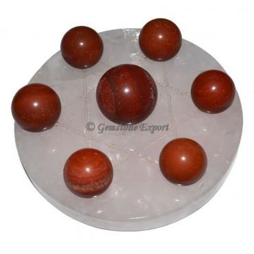 Rose Quartz Star Base With Red Jasper Chakra Ball