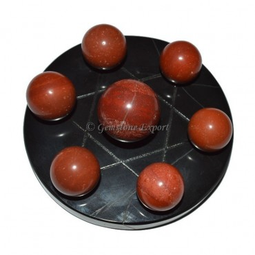 Black Agate Star Base with Red Jasper Chakra Ball