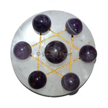 Crystal Quartz Golden Star Base with Amethyst Chak