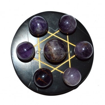 Black Agate Golden Star Base with Amethyst Chakra
