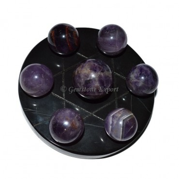 Black Agate Star Base with Amethyst Chakra Ball