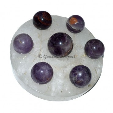 Crystal Quartz Star Base with Amethyst Chakra Ball