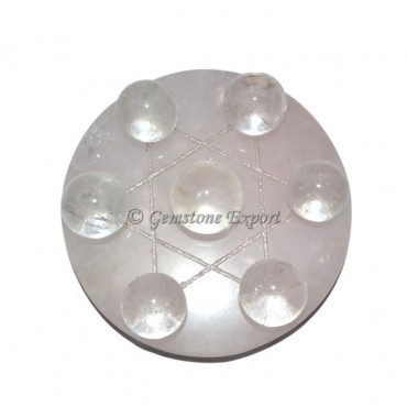 Rose Quartz Plate With Crystal Quartz Ball David S