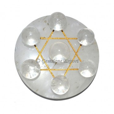 Crystal Quartz With Golden Pentagram Ball Set