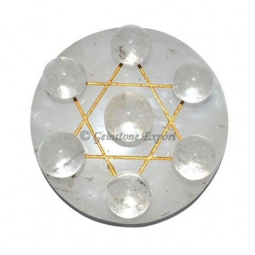 Crystals Quartz Pentagram David Star Set