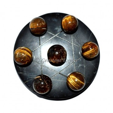 Black Agate With Tiger Eye David Star Set