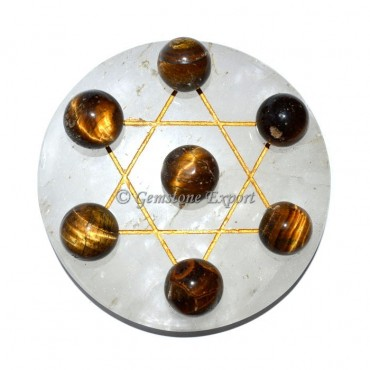 Engraved Gold Of Crystal Quartz With Tiger Eye Sph