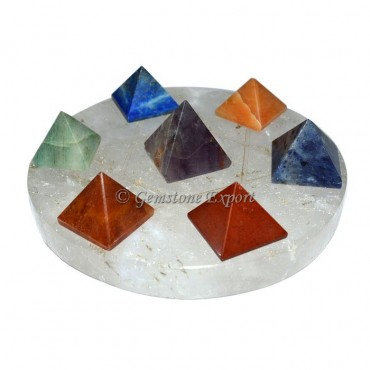 Chakra Pyramids Set With Crystal Quartz Pentagram