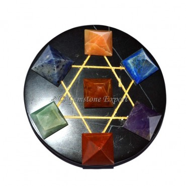 7 Chakra Pyramid With Black Agate Base