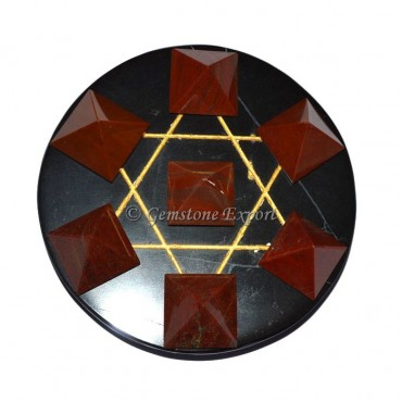 Red Jasper Pyramids With Black Agate Base
