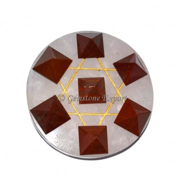 Red Jasper Pyramids With Black Agate Pentagram Set