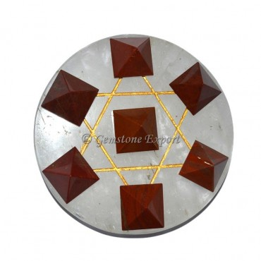 Red Jasper Pyramids And Crystal Quartz Pentagram