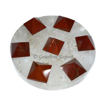 Red Jasper Pyramids With Crystal Quartz Base