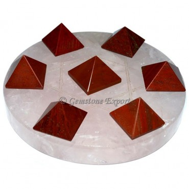 Rose Quartz With Red Jasper Pyramids