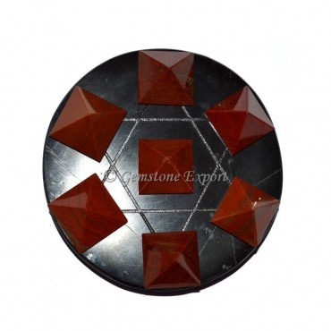 Black Agate With Red Jasper Pyramids