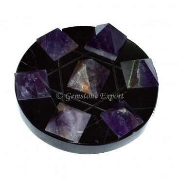 Amethyst Pyramids With Black Agate Pentagram