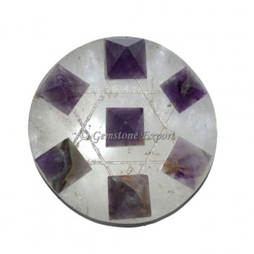 Amethyst Pyramids With Crystals Pentagram