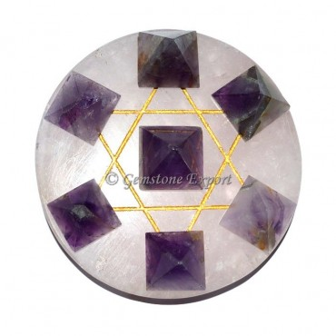 Amethyst Pyramids With Crystal Base