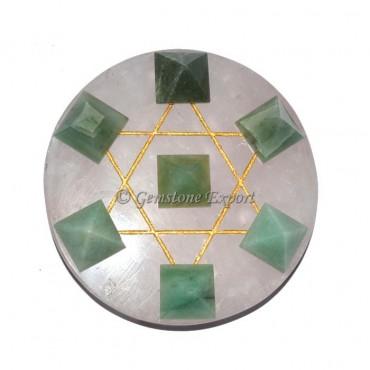 Green Aventurine Pyramids Rose Quartz Base