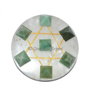 Green Aventurine Pyramids With Crystal Quartz Base