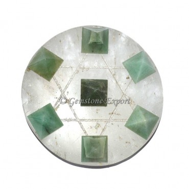 Green Aventurine Pyramids And Crystal Base